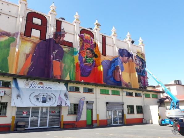 Working on Palacio Jai Alai mural. Centro, Tijuana