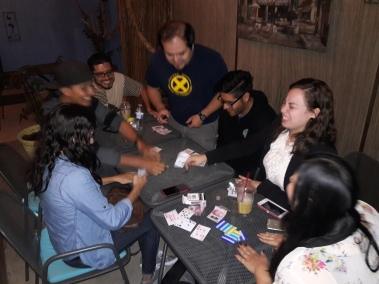 Enjoying a cafe like it's meant to be. Rounds of cards with roommates and friends at Cafe Zhi, Playas de Tijuana