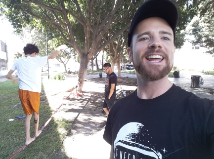 Showing roommates the joy of Slacklining at our neighborhood park, Las Misiones. Zona Rio, Tijuana