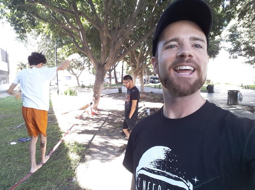 Showing roommates the joy of Slacklining at our neighborhood park, Las Misiones. Zona Rio, Tijuana