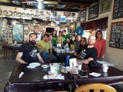 Baja Travesies hiking group stopping for lunch at Mamá Espinoza. El Rosario, Baja California