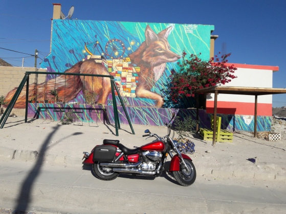 Random mural in front of random community park during a random motorcycle ride exploring TJ. El Florido, Tijuana