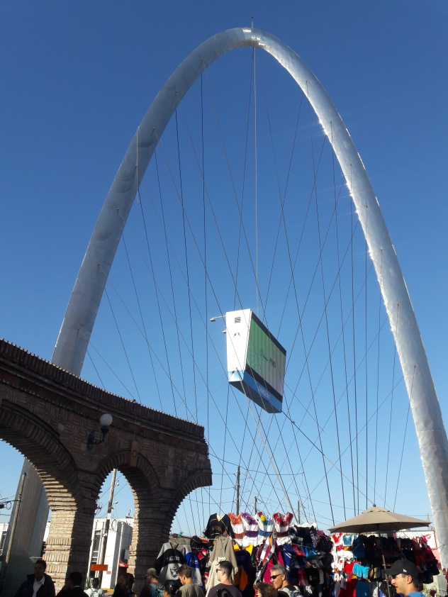 The Arch from Plaza Cecilia. Centro, Tijuana
