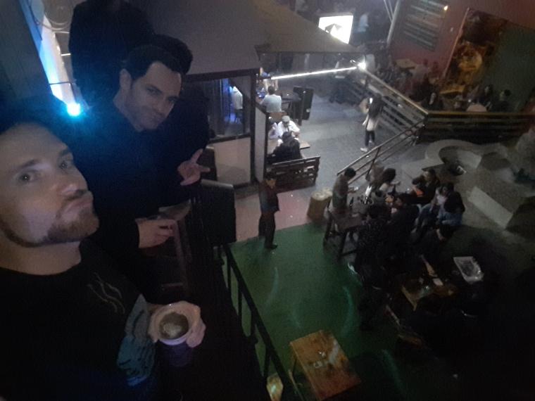 Enjoying craft cerveza, balcony-side at Vibra Tap Room. Plaza Fiesta, Zona Rio, Tijuana