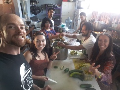 Comida No Bombas volunteering to serve free vegan cuisine to deportees, homeless, and indigenous at Enclave Caracol. Centro, Tijuana