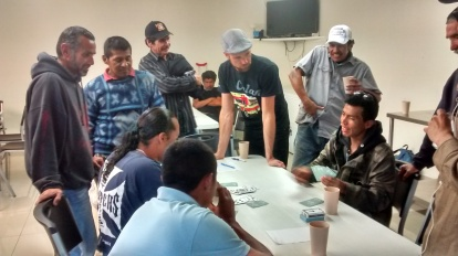 Card tournament with immigrants at the Ejército de Salvación. La Libertad, Tijuana